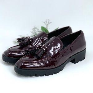 ZARA Deep Plum Patent Tassel Loafers